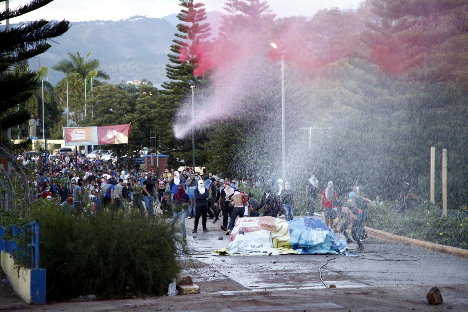 Student Protesters Clash With Police Who Launch Water And Tear Gas At Them In Tegucigalpa Honduras Thursday Feb 9 2017 The Students Are Protesting