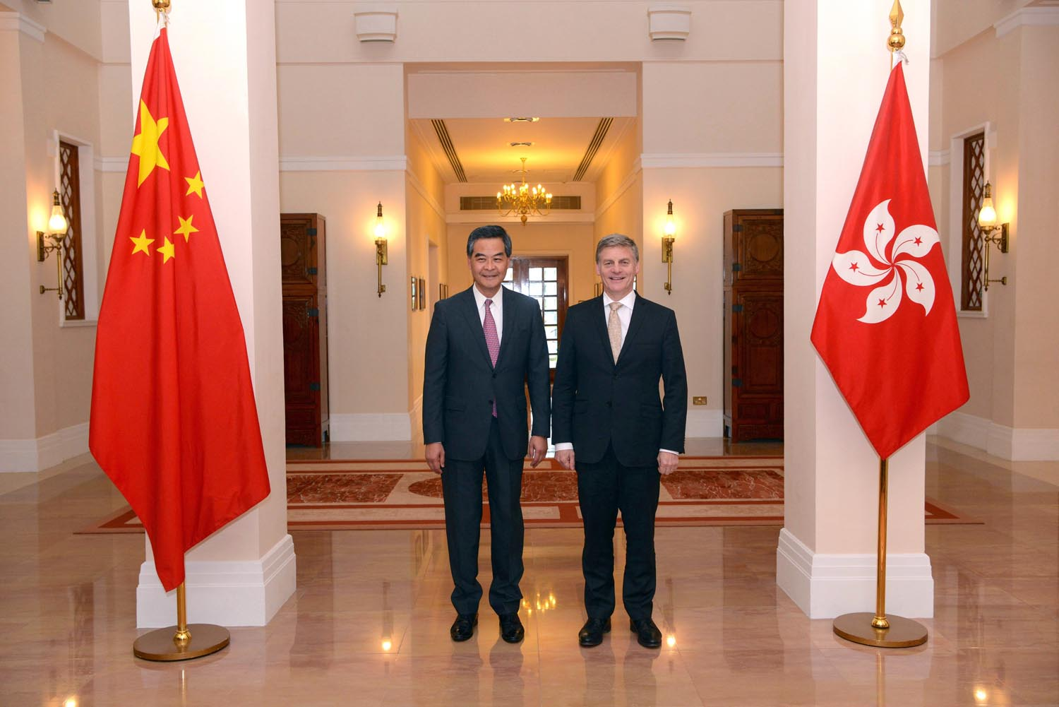 In This Photo Released By Hong Kong Government Information Service New Zealand S Prime Minister Bill English Right And Chief Executive Leung